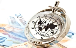 global model clock with Euro banknotes