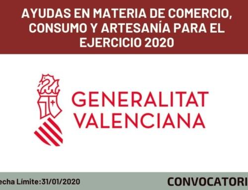 Ayudas en materia de Comercio, Consumo y Artesanía para el Ejercicio 2020